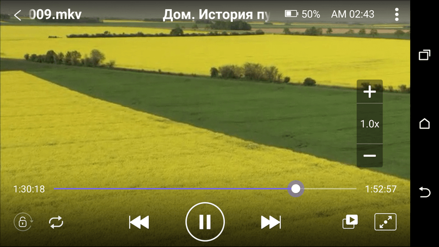 KMPlayer Android - пример воспроизведения видео формата MKV